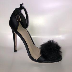 ASOS faux fur poof heels
